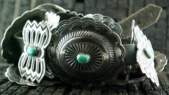 Antique Sterling Silver and Turquoise Navajo Concho Belt