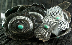 Antique Sterling Concha Turquoise Belt