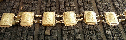 Estate 14K Yellow Gold and Lava Cameo Link Bracelet