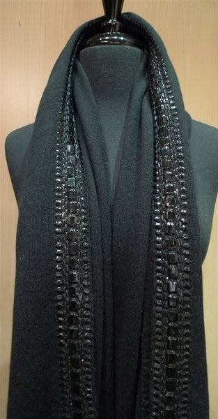 Armand Diradourian Cashmere Black Wrap/Scarf with Patented Raised Trim