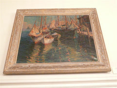 Signed Oil Painting of Boats and Wharf Scene