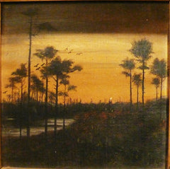 Oil Painting of River Scene with Palms
