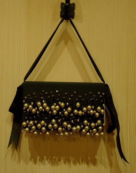 Bernard Chandran Black Silk, Golden Pearls, and Crystal Evening Bag