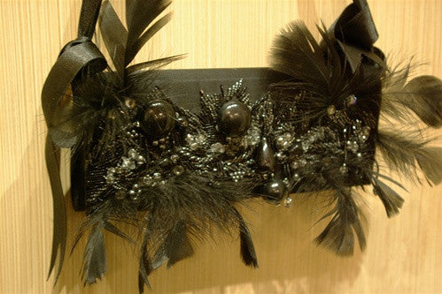 Bernard Chandran Black Silk, Black Beads, Feathers, and Clear Crystal Evening Bag