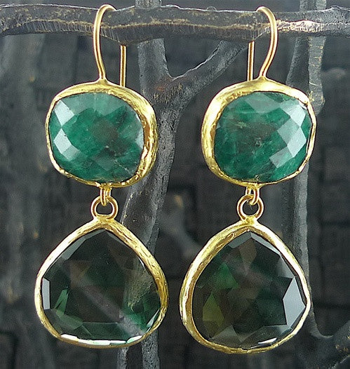Coralia Leets Double Stone Green Onyx and Watermelon Earring