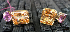Churchill Private Label Synthetic Padparadscha Earrings 18K
