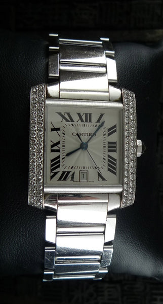 Cartier 18K White Gold Tank Francaise Watch with Diamond Bezel