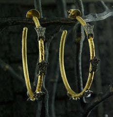 CHURCHILL Private Label 18K Yellow Gold and Blackened Diamond Hoops