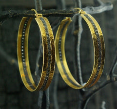 CHURCHILL Private Label 18K Yellow Gold and Blackened Diamond Hoop Earrings