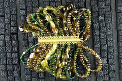 Churchill Private Label Multi Strand Bracelet of Peridot, Citrine, Chrome Diopside, and Andalusite with 22K Gold