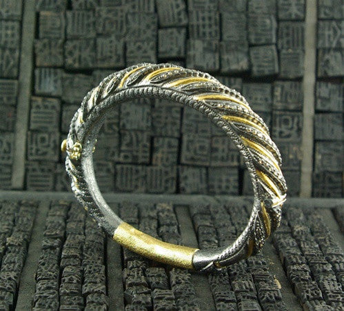 CHURCHILL Private Label 18K Yellow Gold, Silver and Blackened Diamond Spiral Bangle Bracelet