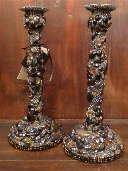 Pair of Handsigned Cloutier Custom Gem and Crystal Encrusted Candlesticks