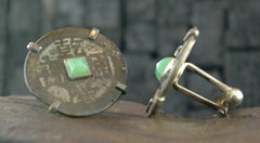 Chinese Coin with Jade Cufflinks
