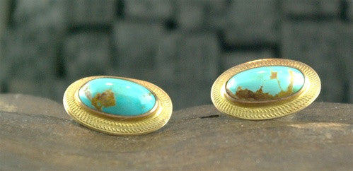 Estate Cufflinks in 14K Yellow Gold and Turquoise