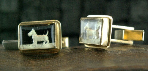 Estate Westie Cufflinks in 14K Yellow Gold