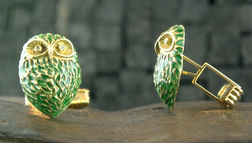 Cufflinks Green Enamel on 18K Yellow Gold with Diamond Eye Owls