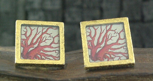 John Wind Goldtone Cufflinks with a Red Coral Branch Design on Cream Background