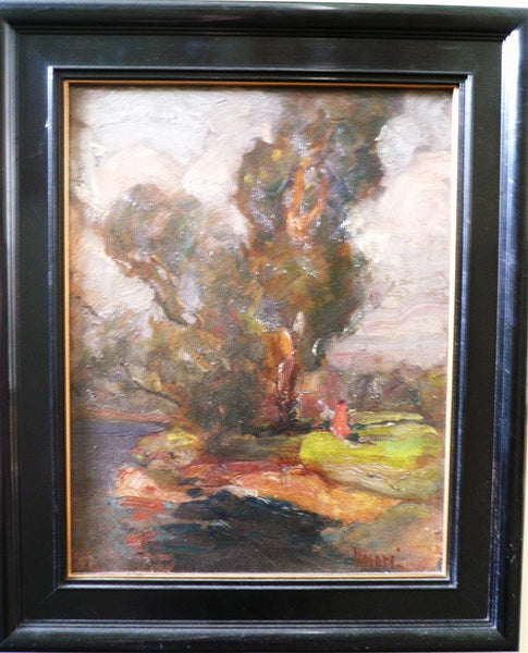 French Summer Landscape Painting, Signed Henri, circa 20th Century