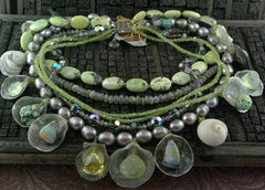 LA Moonstones, Opals, Chalcedony  Graduating Strands of  Shell, Bead, and Stone Necklace