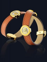 Seah 2-Wrap Elements Bracelet in Orange Leather