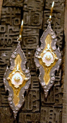 Emily Armenta 18K Yellow Gold and Midnight Silver Iris Earrings w Diamonds and White Coral