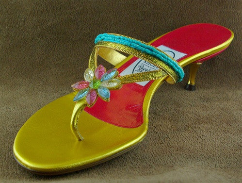 Emma Hope Flowered Jewel Kitten Heel Princess Shoe