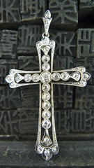 Estate Diamond Cross Pendant in 18K Two Tone Gold Circa 1910
