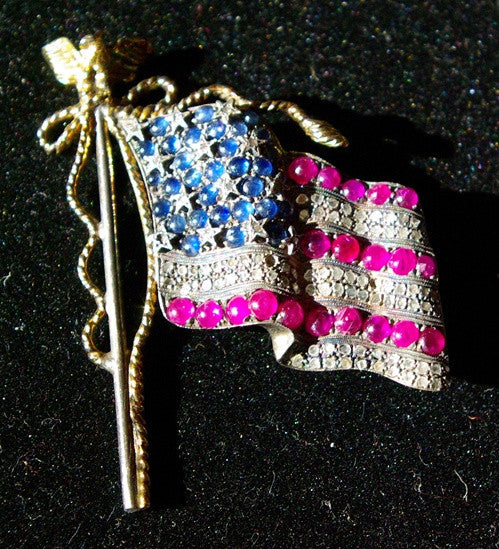 Antique Georgian American Flag Pin with Sapphires Diamonds and Rubies