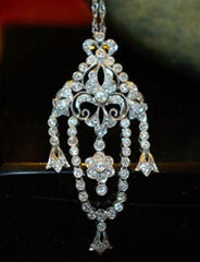Estate Platinum and Diamond  Chandelier Style Pendant Necklace