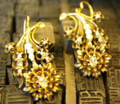 Victorian Gold, Seed Pearl, and Diamond Earrings