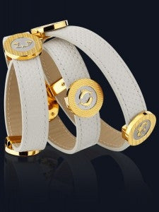 Seah 2-Wrap Elements Bracelet in White Leather