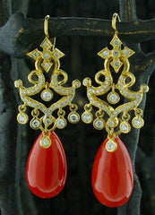 Erica Courtney 18K Yellow Gold and Diamond Earrings with Fire Coral Drops