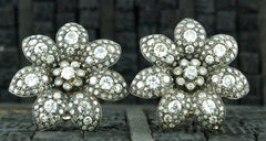Amrapali 18K Blackened Gold, and Diamond Floral Motif Earrings