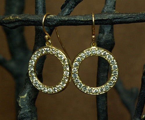 Emily and Ashley Green (Greenbeads) 14K Yellow Small Baby Circle Earrings in Diamonds