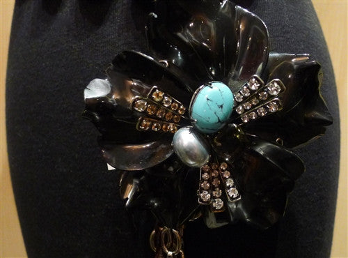 Iradj Moini Belt with Agate Segments, Obsidian Floral Brooch with Smoky Topaz  and Turquoise