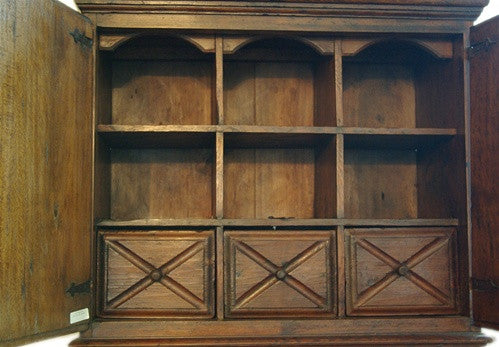 Early 18th Century Spanish Pine Inlaid Wood Secretary