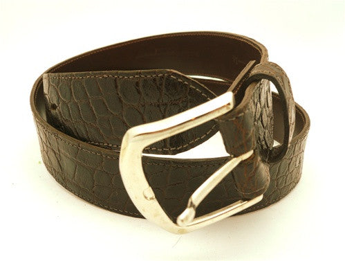 LAI Crocodile Skin Belt in Dark Brown with Silver Buckle