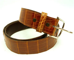 LAI Crocodile Skin Belt in Cognac with Buckle