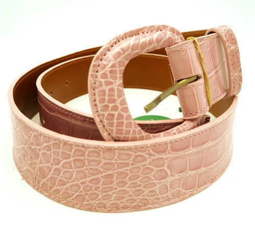 LAI Crocodile Belt with Covered Buckle - Light Pink