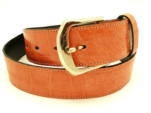 LAI Crocodile Belt with Brass Buckle in Coral