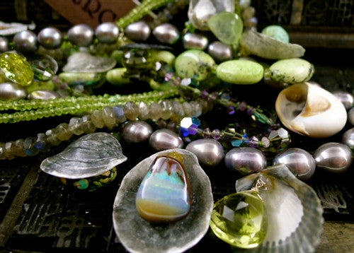 LAdams Diva Necklace of Shells, Opals, Chalcedony, Turquoise, Peridot and Pearls