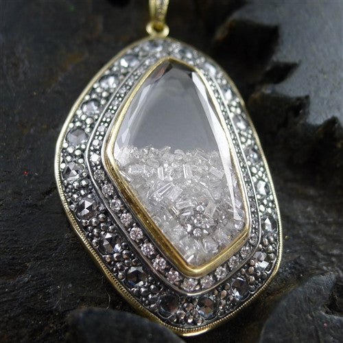 Moritz Glik Diamond Pendant Necklace in 18K Gold and Sterling Silver