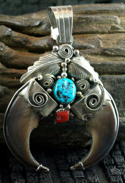 Old Pawn Claw and Turquoise Pendant, M & D Signed