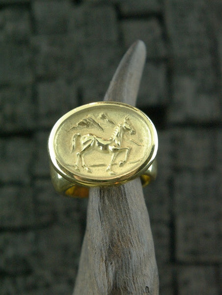 Marisa Perry 18K Yellow Gold Horse Intaglio RIng