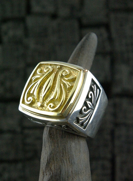 Marisa Perry Sterling Silver and 18K Yellow Gold Inset RIng