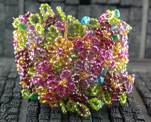 Mindy Lam One of a Kind Couture Swarovski Crystal Wide Flower Bracelet