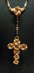 Virgin Saints & Angels Rosary Necklace with Cross Pendant of Flowers