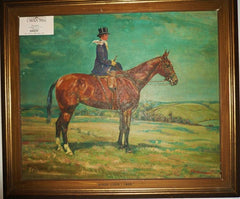 Oil Painting of Gentleman on Horseback