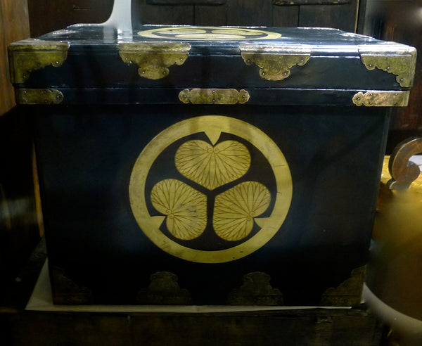Rare Antique Tokugawa Japanese Lacquered Trousseau or War Chest Circa Late 17th C to Early 18th Century
