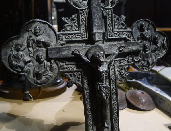Antique Ornate Bronze Crucifix